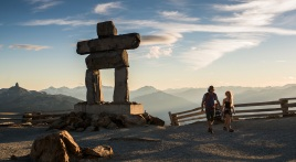 hiking on top of whsitler mountain, whistler british columbia