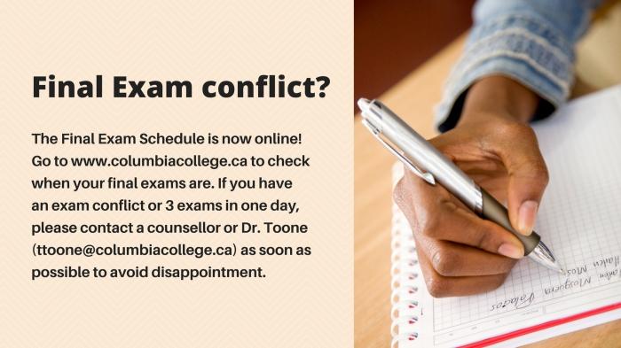 final exam conflict